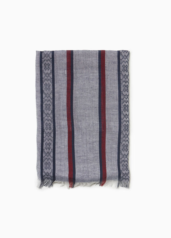 Striped cotton and viscose scarf