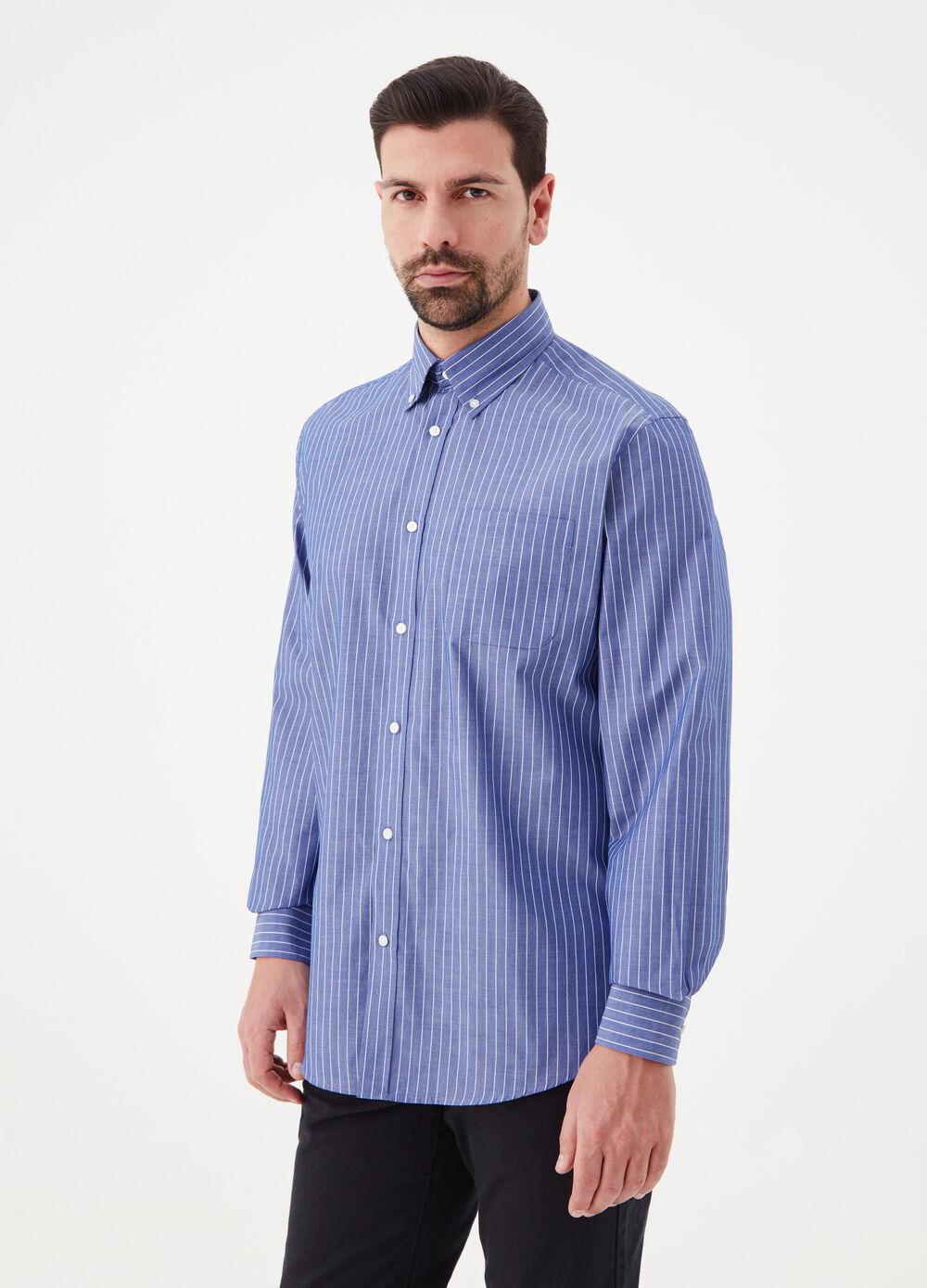 Regular-fit micro-striped shirt