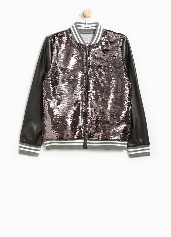 Cotton bomber jacket with sequins | OVS