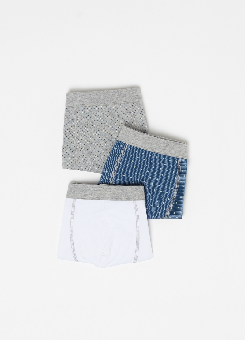 Three-pack stretch cotton boxer shorts with pattern image number null