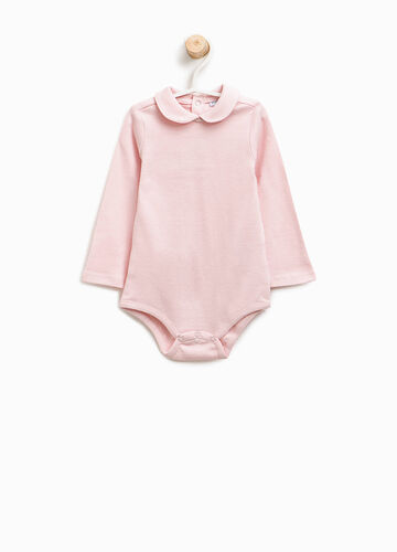 Cotton bodysuit with rounded collar