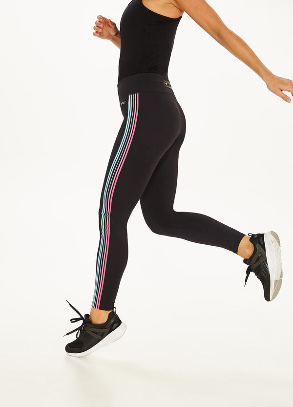 Stretch leggings with striped bands