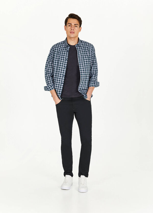 Casual check shirt with button-down collar