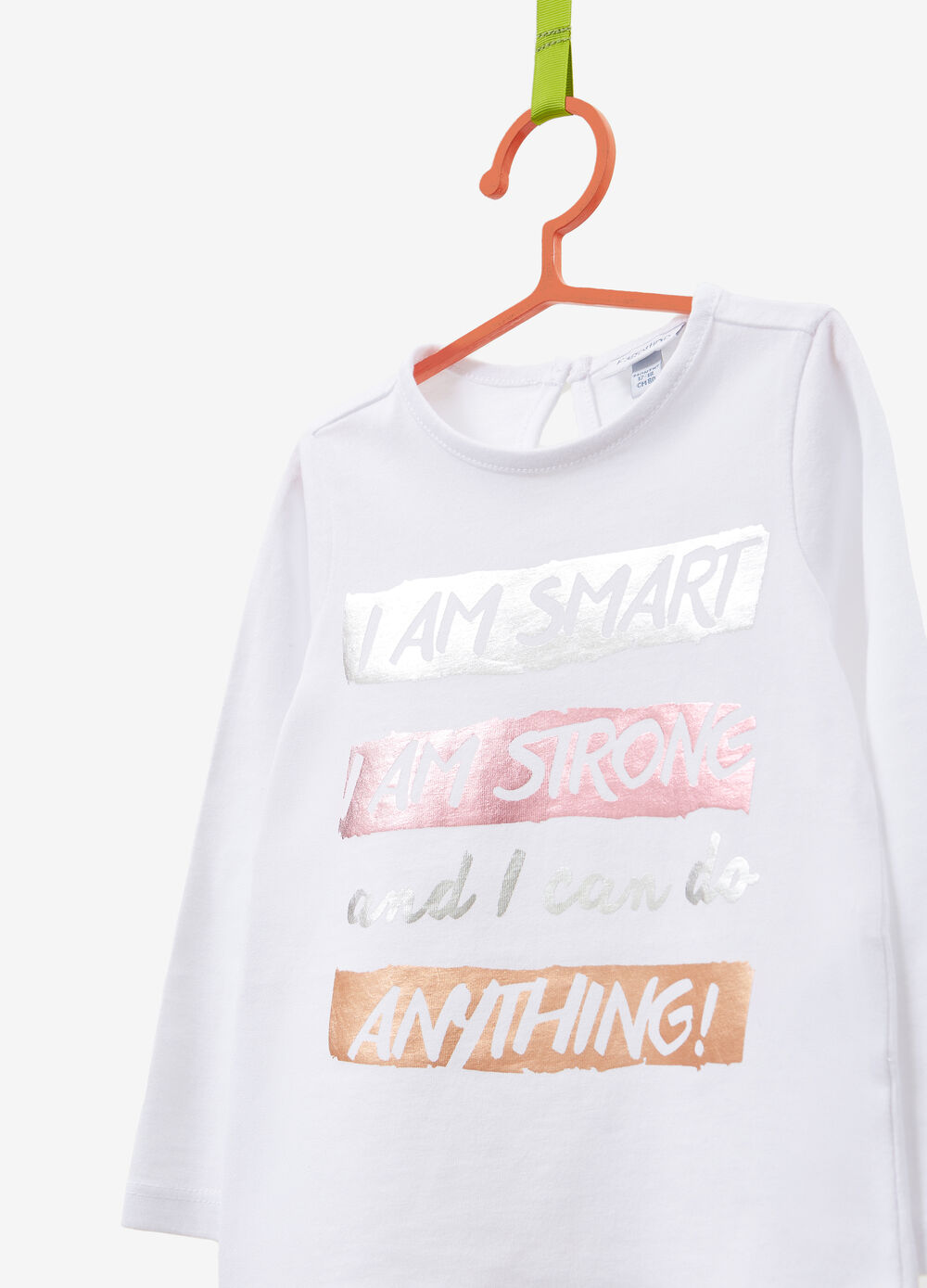 Cotton T-shirt with glitter lettering print