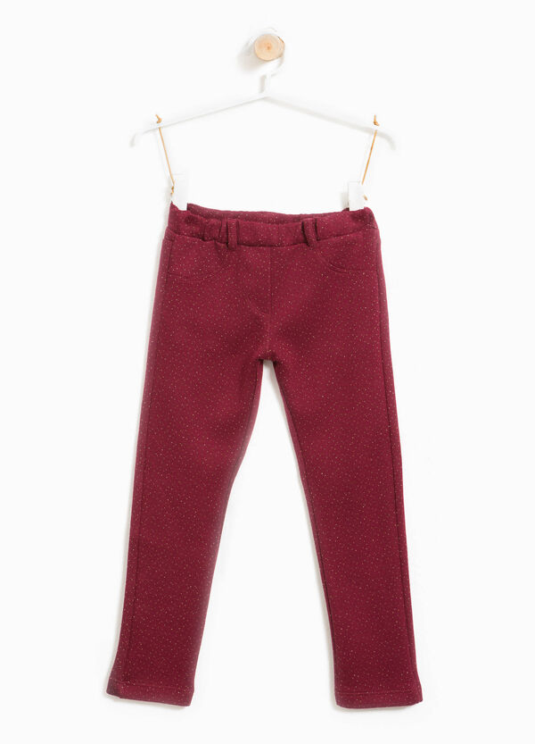 Stretch cotton glitter trousers | OVS