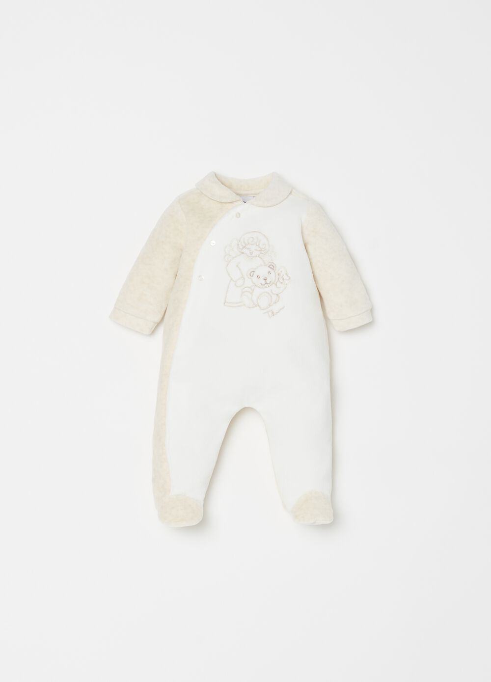 Onesie with feet and THUN Teddy embroidery
