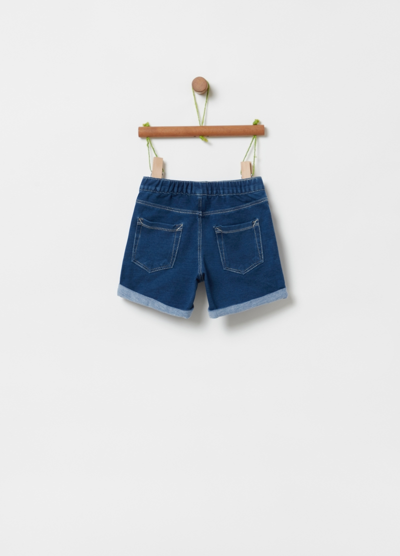Shorts in French Terry denim con strass image number null