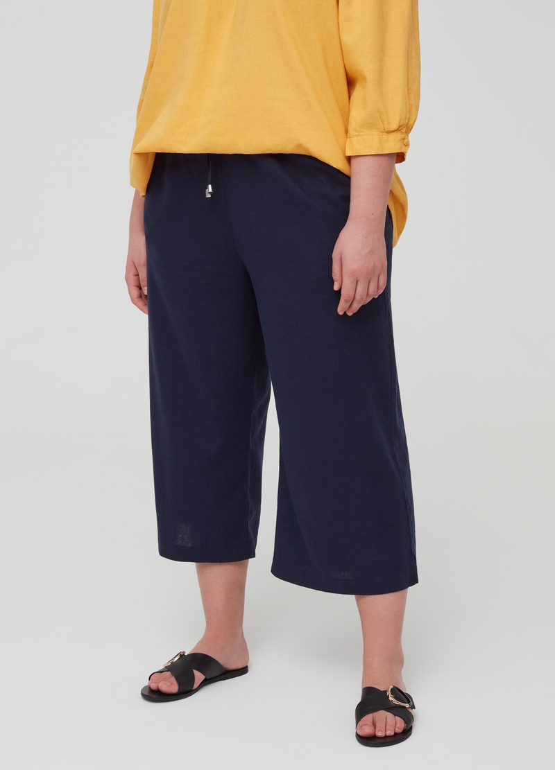 Curvy crop trousers in linen and viscose image number null