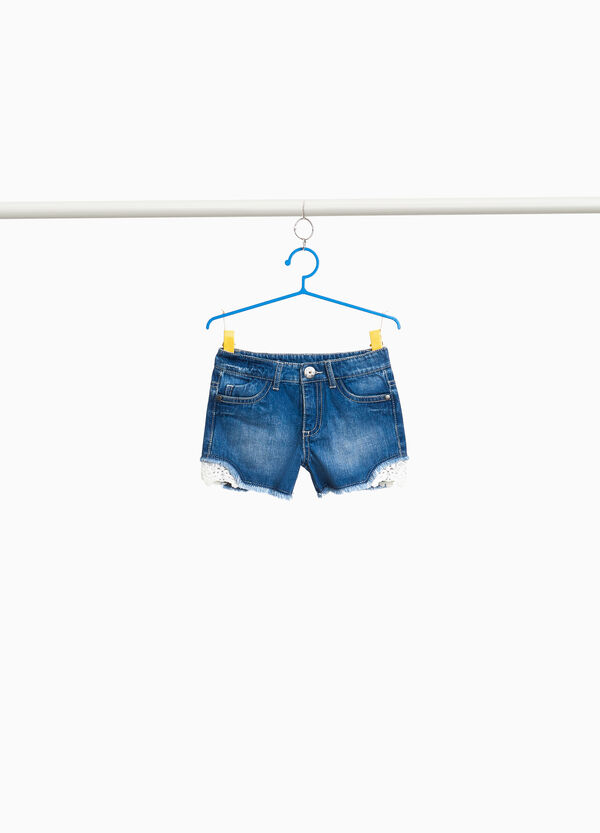 Washed-effect denim shorts with lace