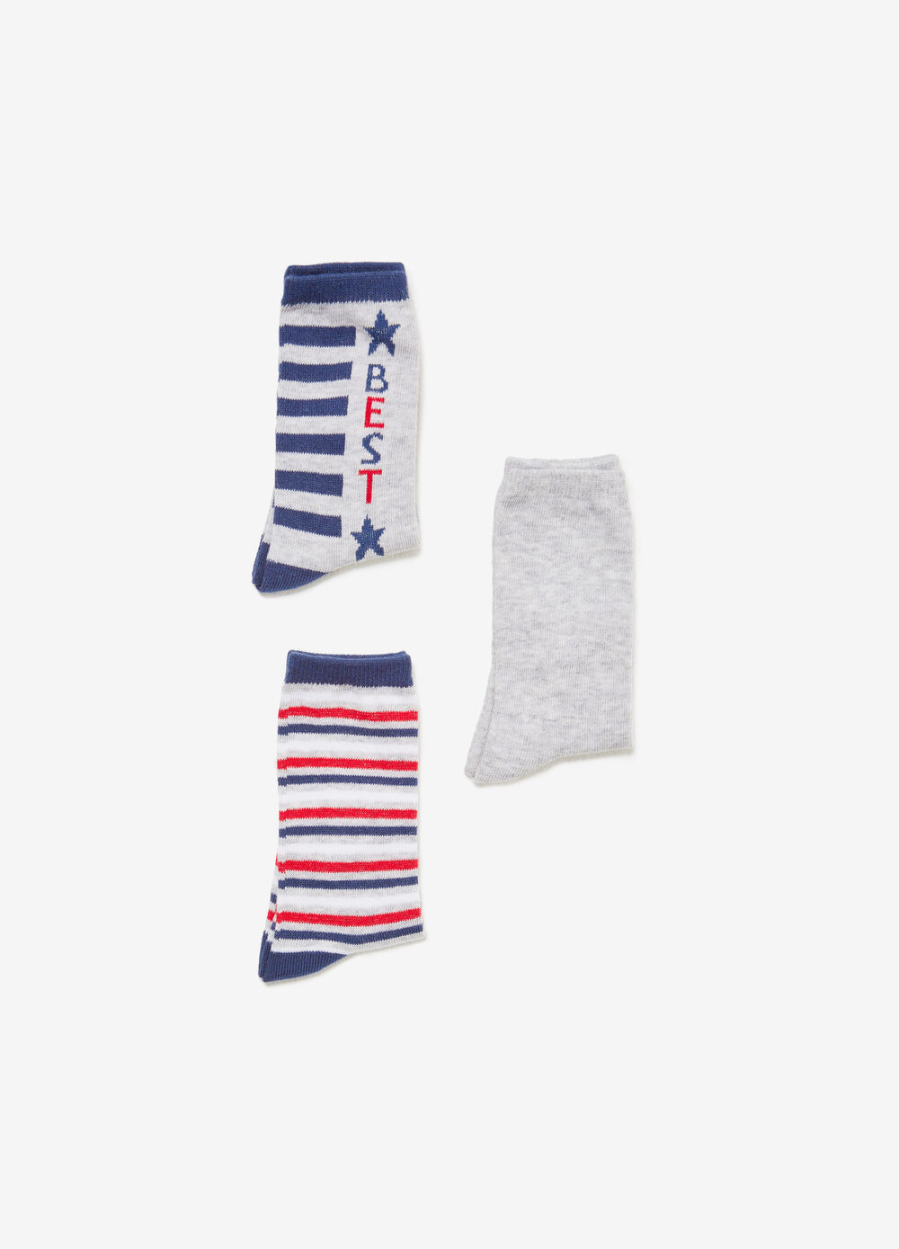 Three-pair pack solid colour and striped long socks