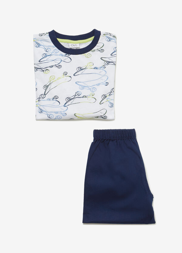 Cotton pyjamas with skateboard pattern
