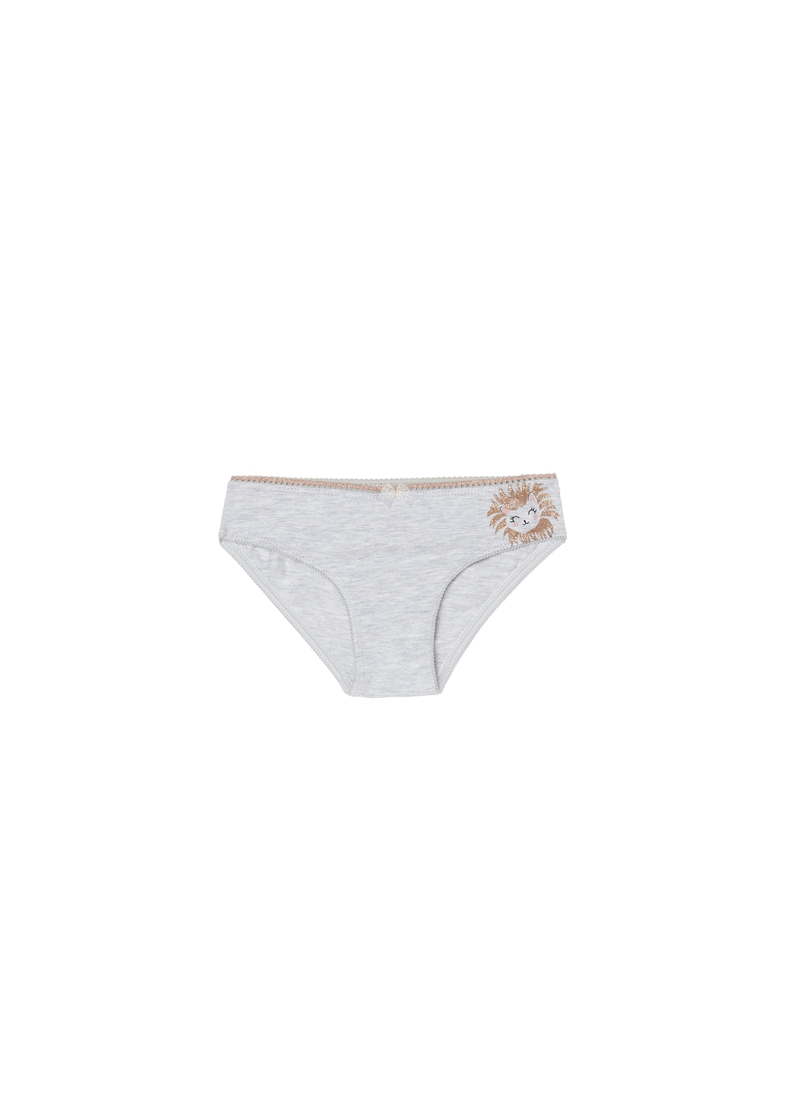 Mélange cotton briefs with kitten print image number null