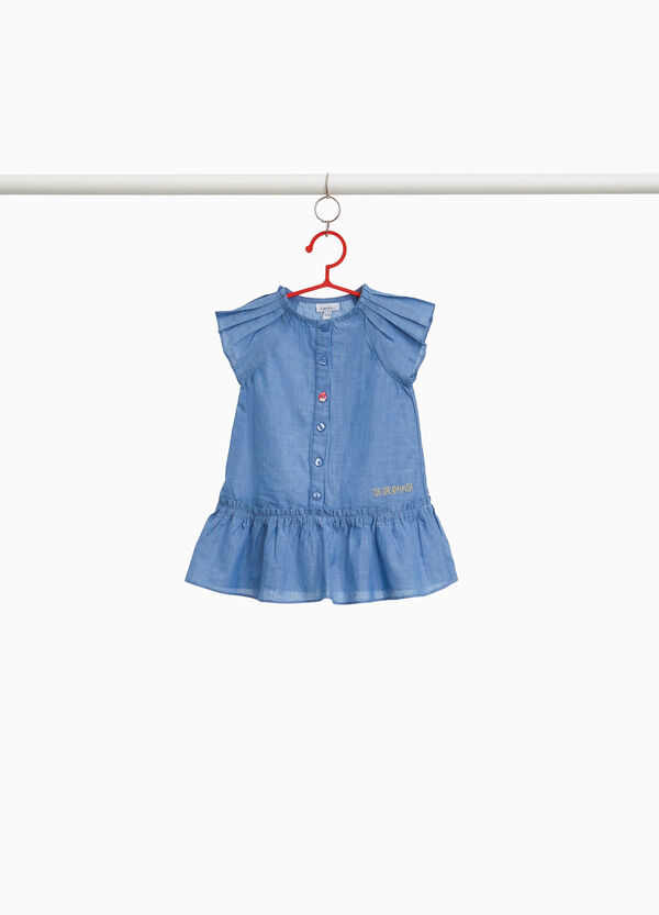 Denim dress with pleating