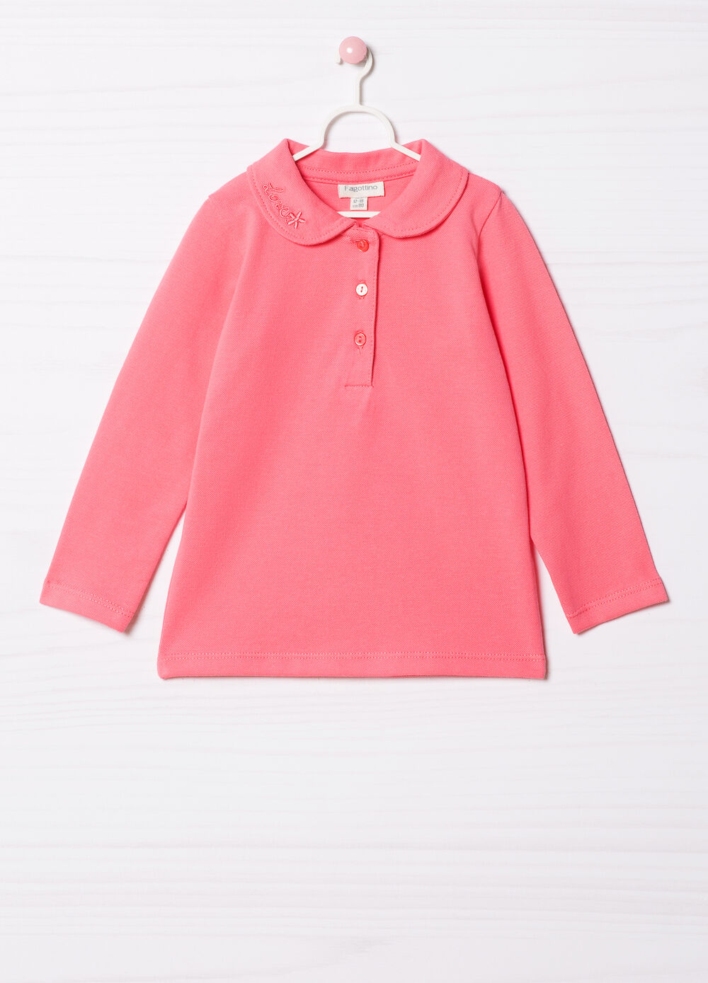 Stretch cotton polo shirt with embroidery.