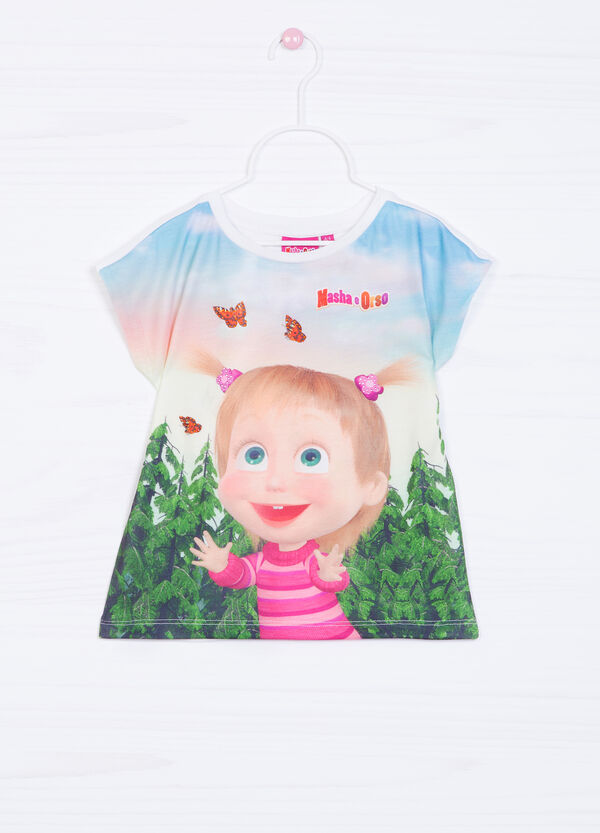 Stretch T-shirt with Masha and the Bear print   OVS