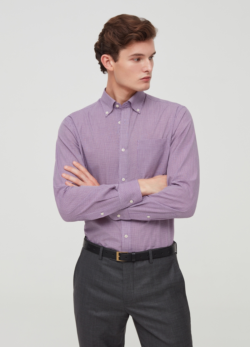 Regular-fit button-down shirt with micro check pattern image number null