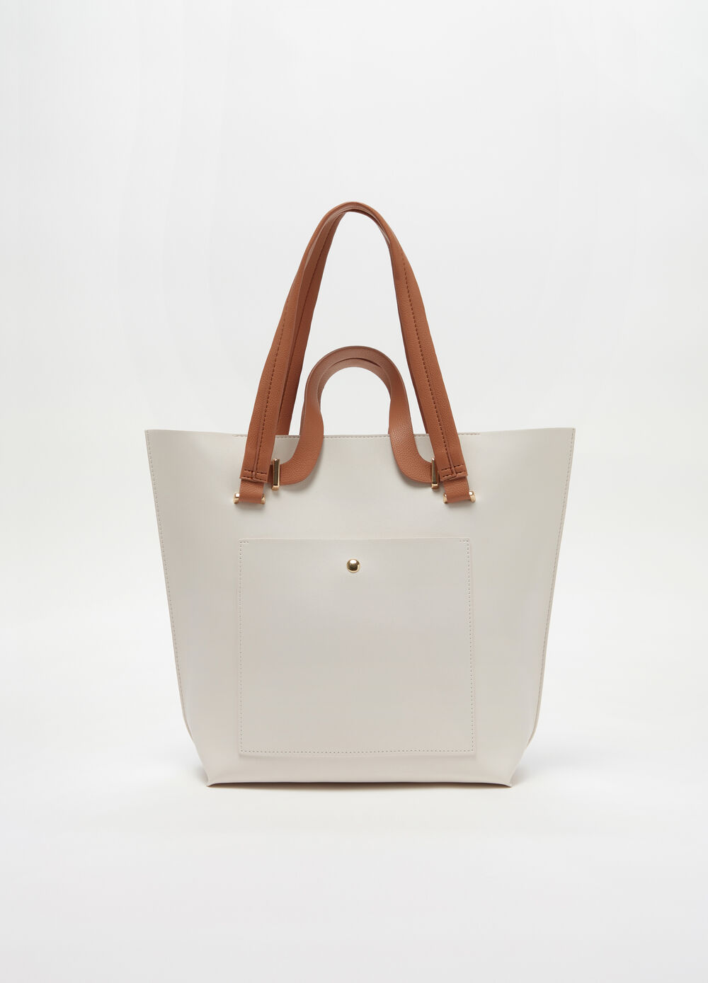 Tote bag with double handle and zip fastening.