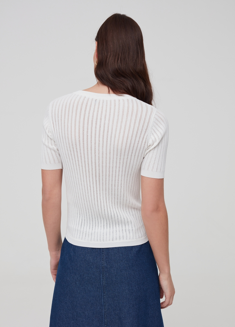 Knitted top with short sleeves image number null