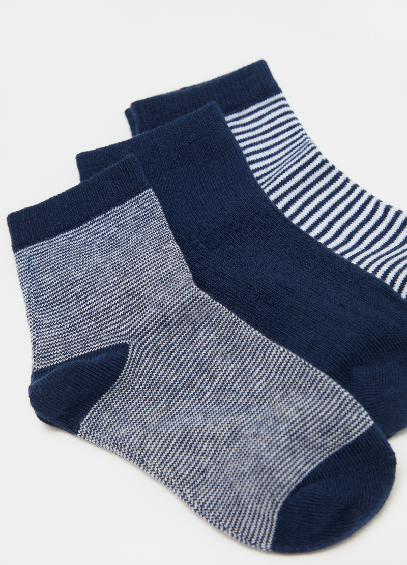 Three-pair pack short stretch socks with stripes image number null