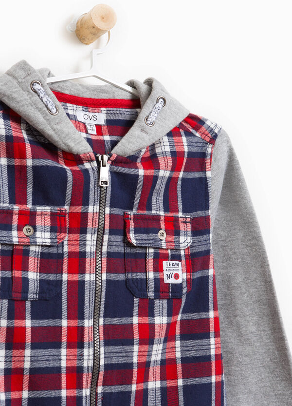 Shirt with tartan patterned hood | OVS