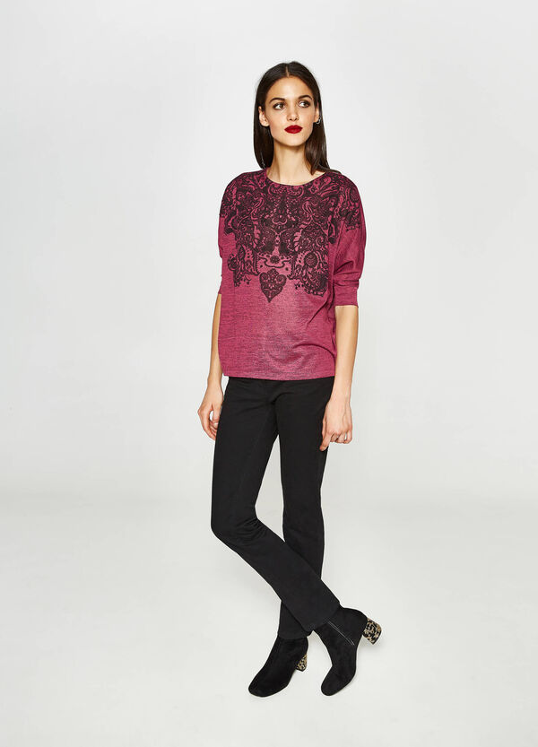 Diamanté stretch printed T-shirt | OVS