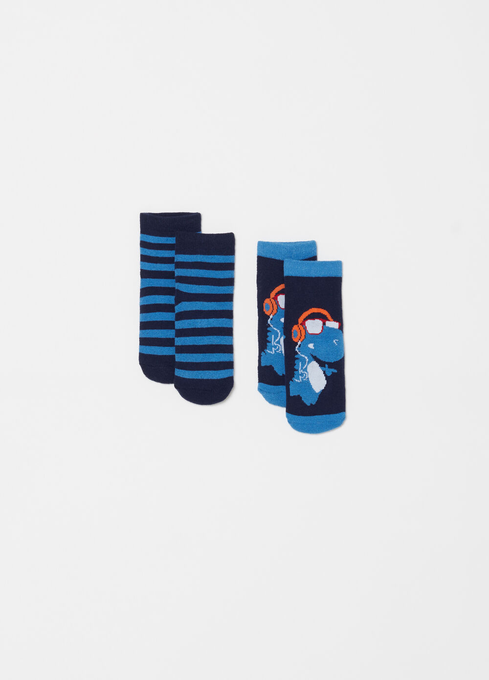 Two-pack slipper socks with embroidery