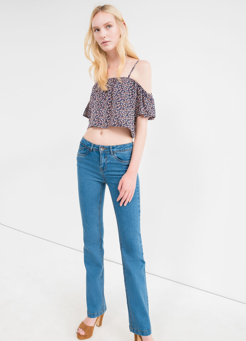 Jeans bootcut cuciture a contrasto