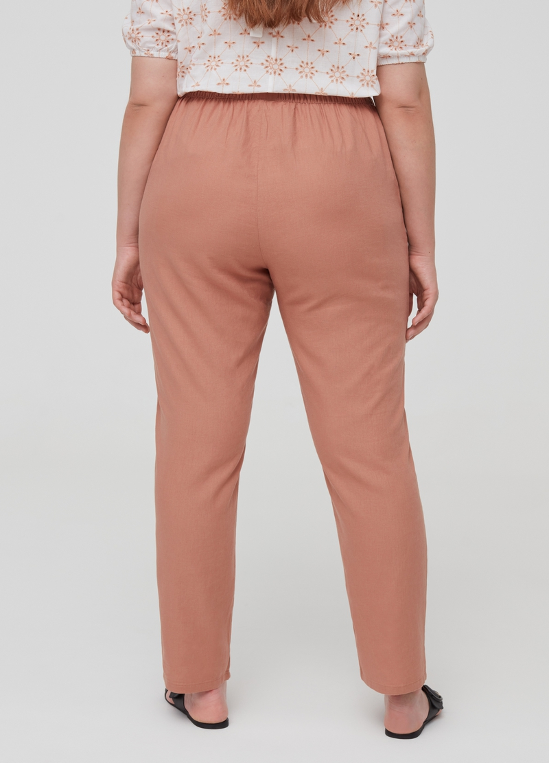 Curvy trousers in linen and viscose image number null