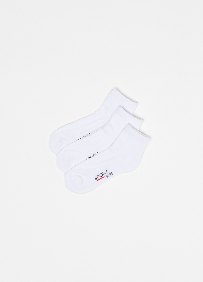 Three-pair pack short stretch socks with lettering print image number null
