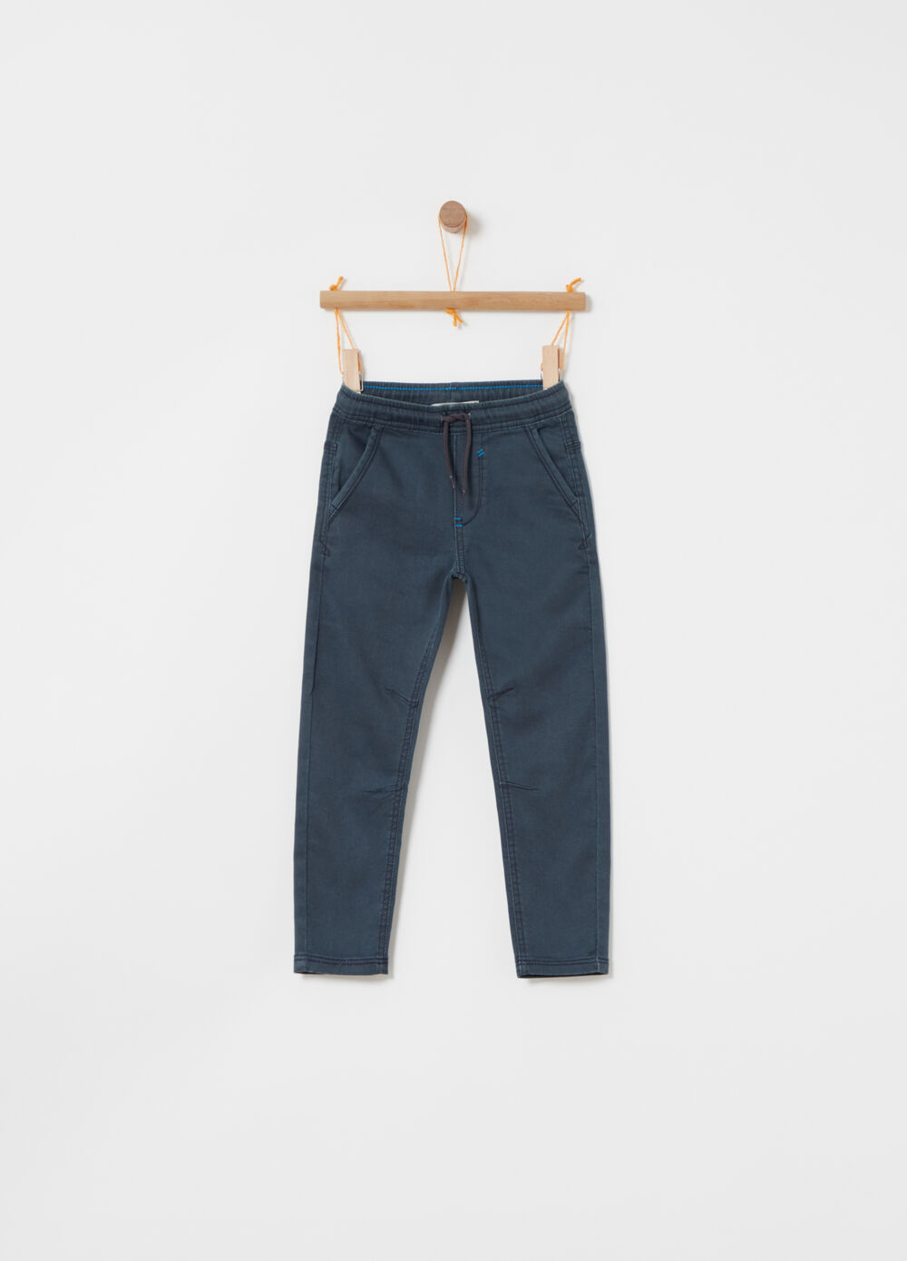 Stretch denim jogger trousers with pockets