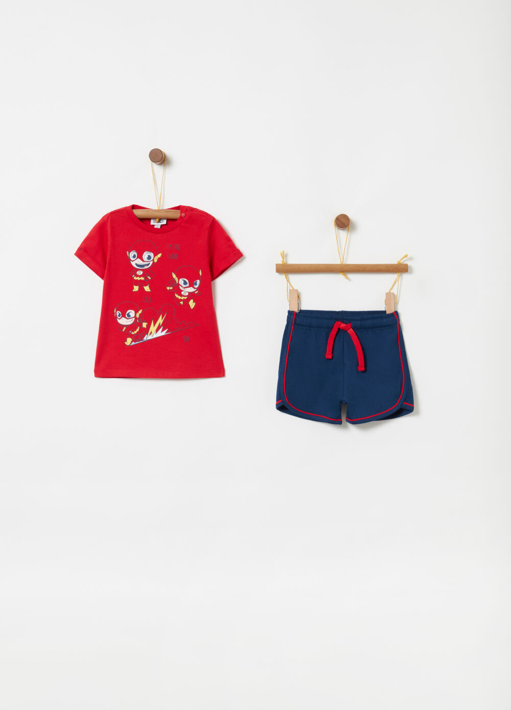 T-shirt and shorts jogging set with Flash print