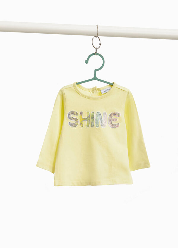 100% cotton T-shirt with print and diamantés