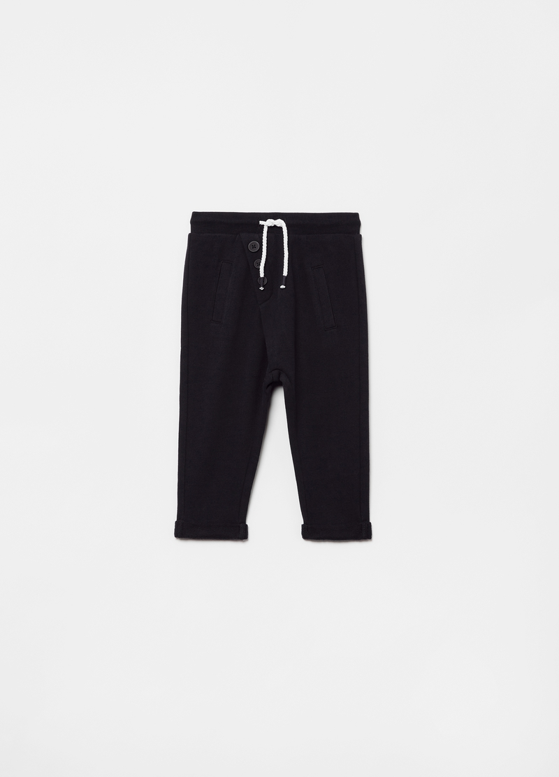 Joggers in 100% organic cotton with buttons image number null