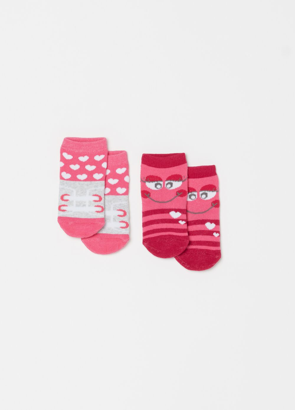 Two-pair pack stretch short socks with pattern