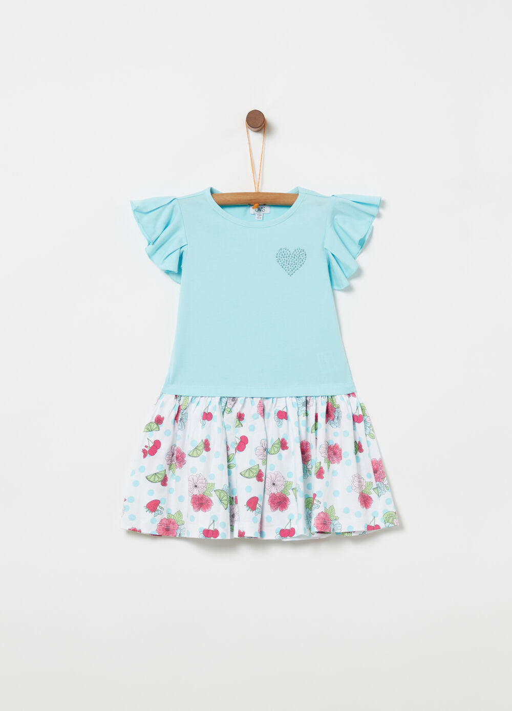 T-shirt and skirt dress with floral studs
