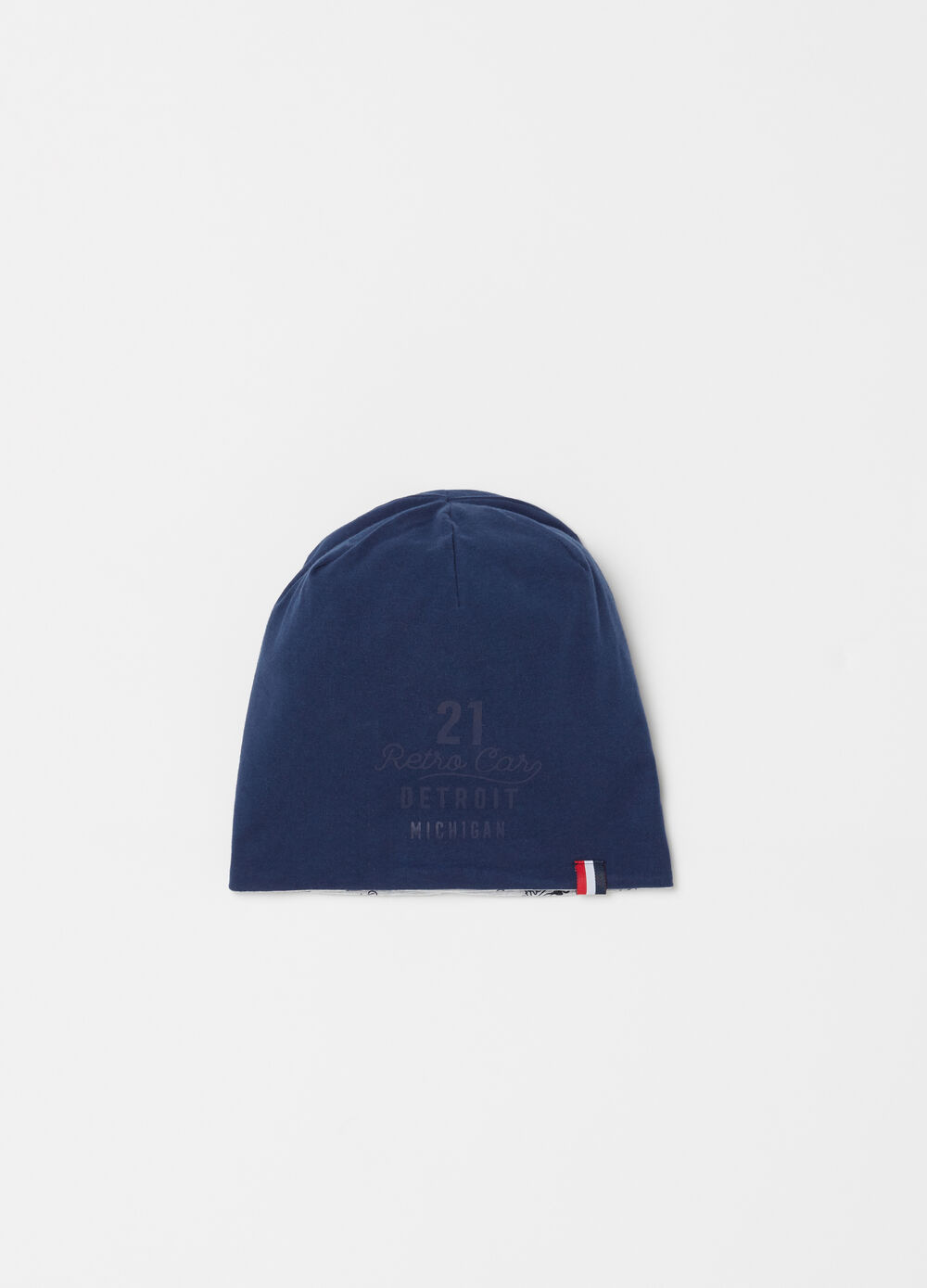 Cotton hat with turn up and print