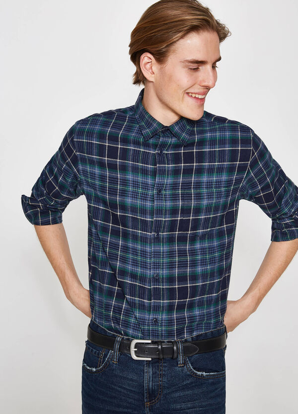 Casual tartan shirt in thick flannel