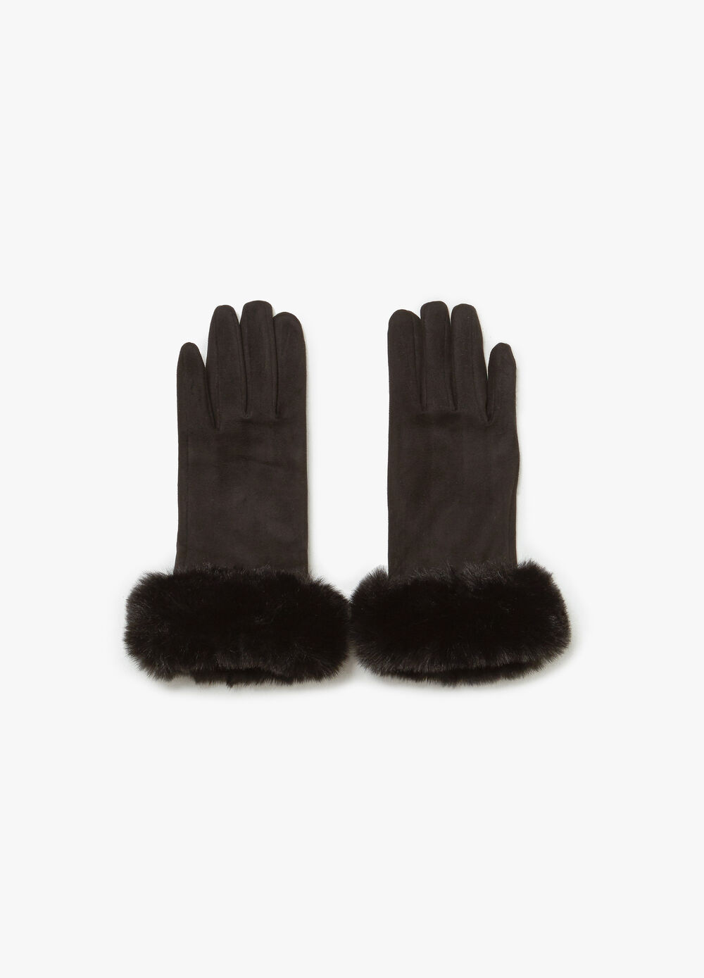 Solid colour stretch gloves with trim