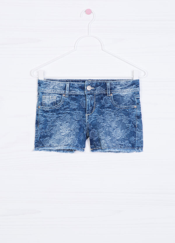 Patterned shorts in stretch denim | OVS
