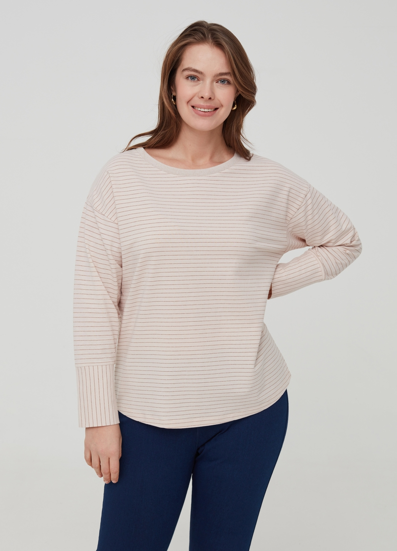 Curvy T-shirt with striped lurex image number null
