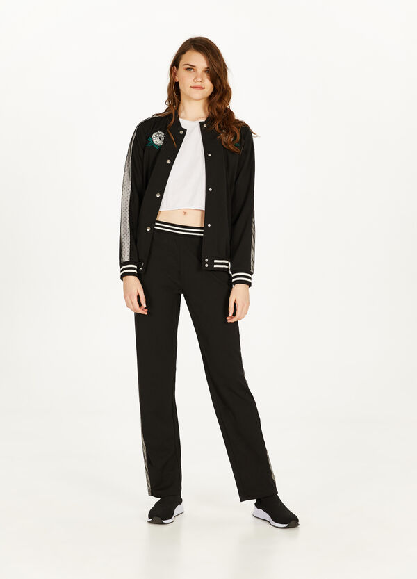 Stretch bomber jacket with bands and patches