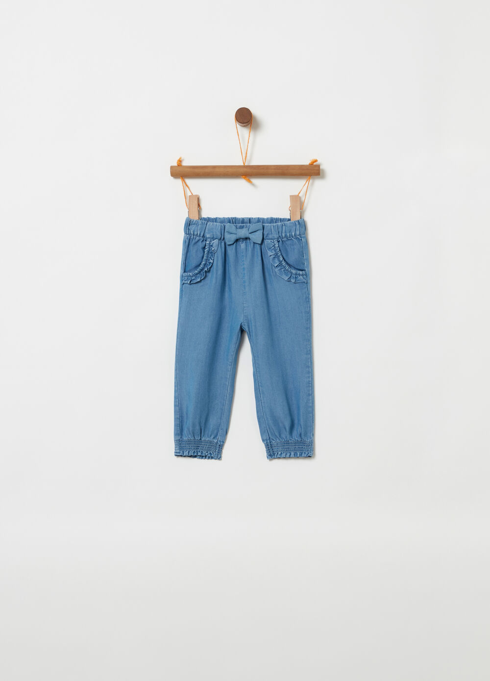 Tencel trousers with bow and frills