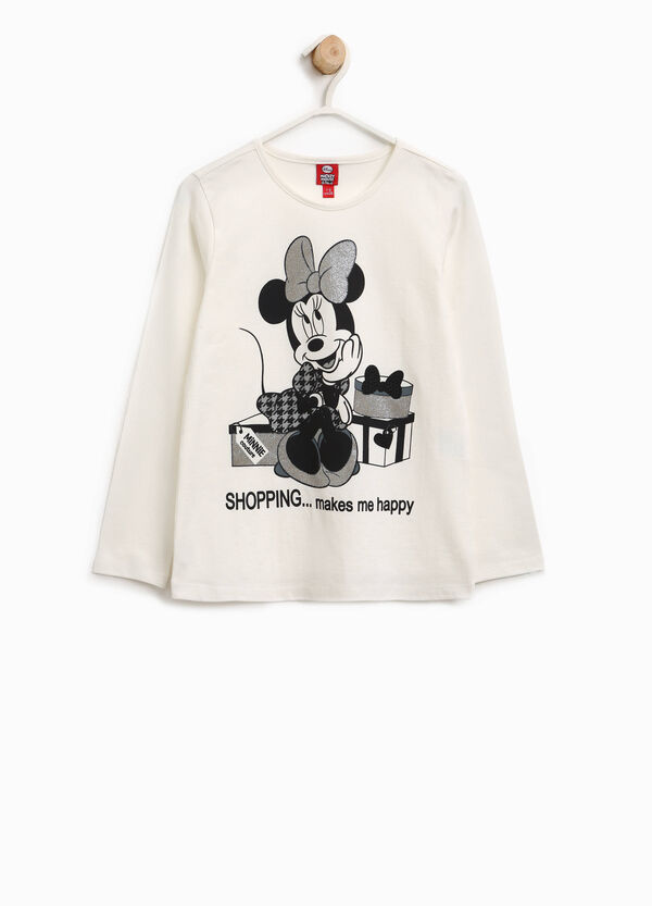 T-shirt in cotone stretch Minnie glitterata | OVS