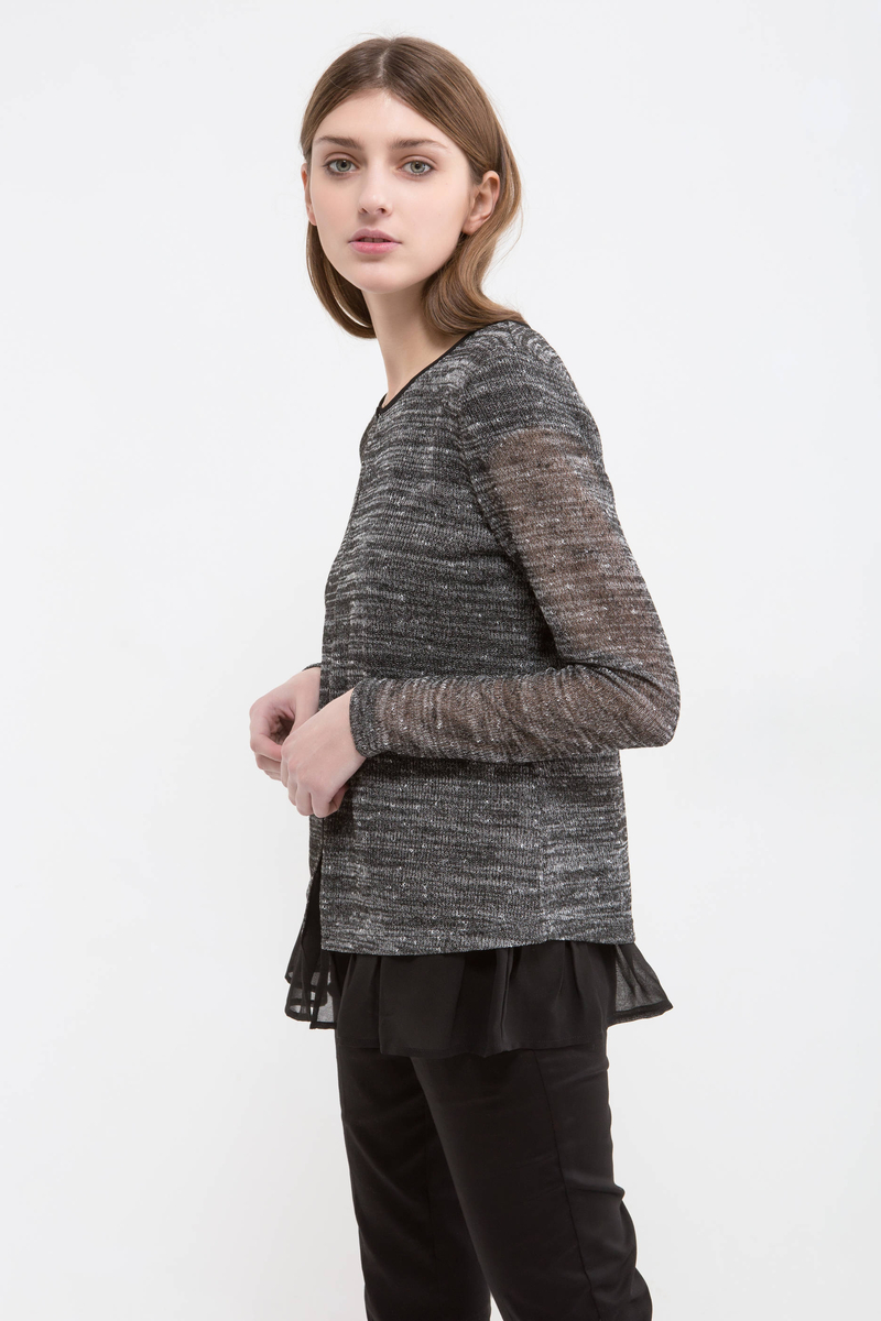 Mélange cardigan with faux layered effect. image number null
