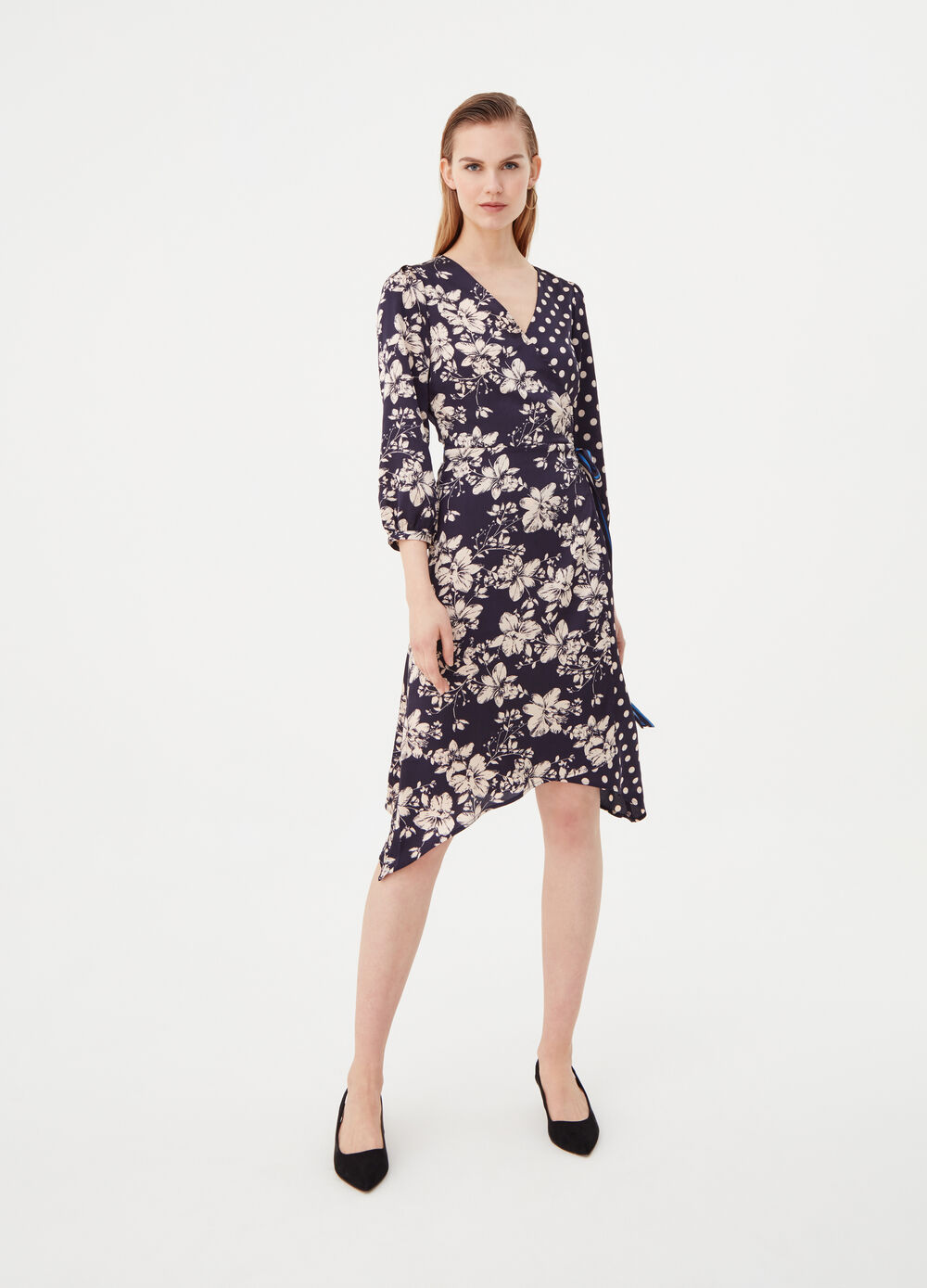 Kimono dress with flowers and polka dots