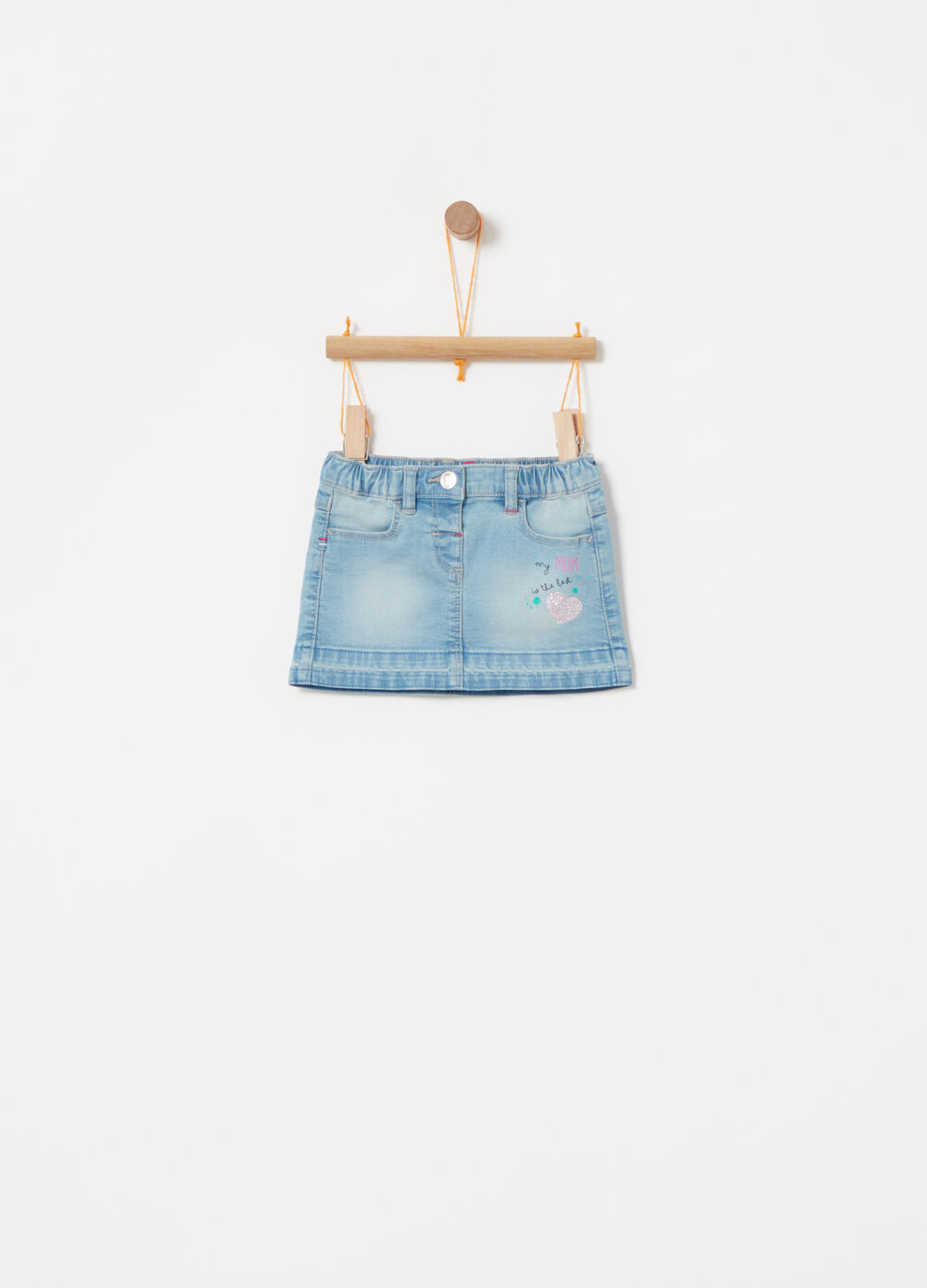 Gonna in denim stretch stampa glitter
