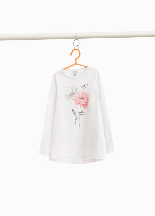 Stretch cotton T-shirt with floral print