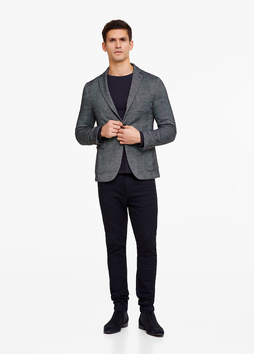 Three-button blazer with herringbone pattern