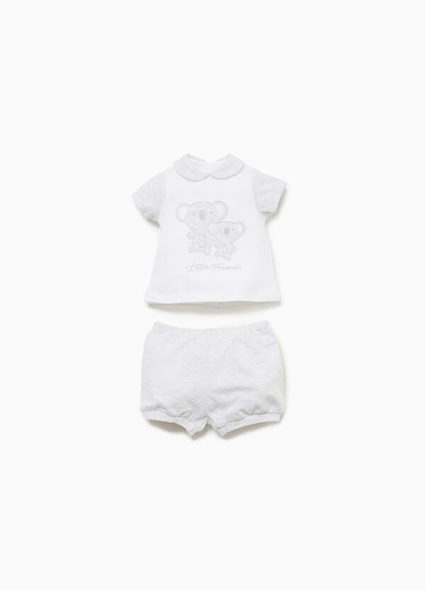 Cotton outfit with koala patches