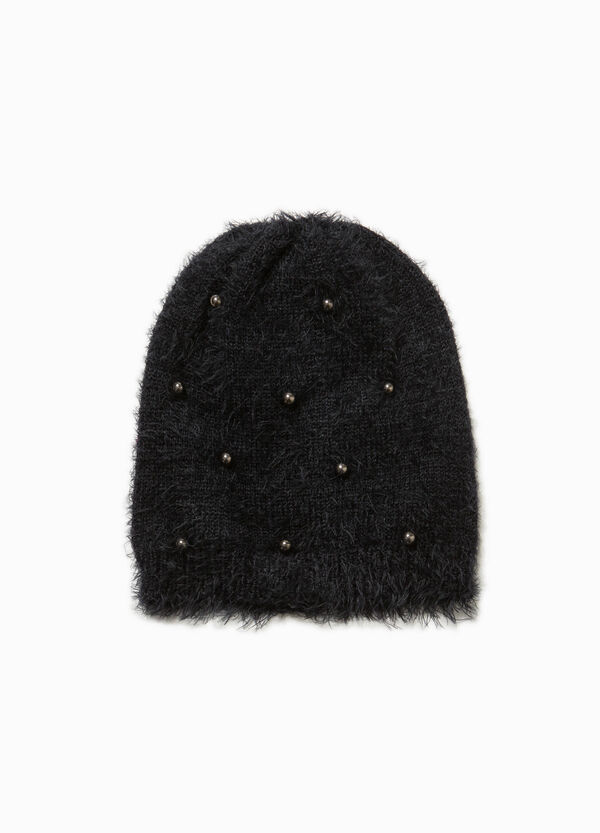 Frayed beanie cap with studs